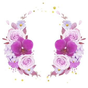 Watercolor wreath of purple rose and orchid