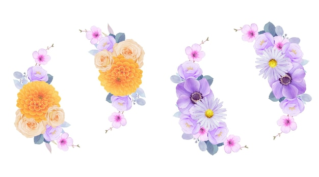 Watercolor wreath of purple and yellow flowers