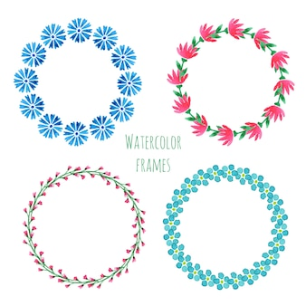 Watercolor wreath set. floral round frame collection with flowers.