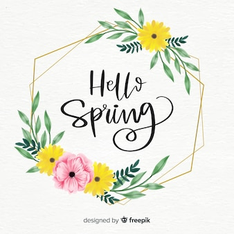 Watercolor wreath spring background