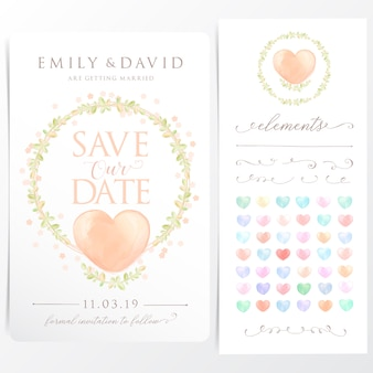 Watercolor wreath wedding invitation card