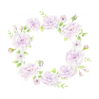 Watercolor wreath of wild roses gently pink. vector illustration