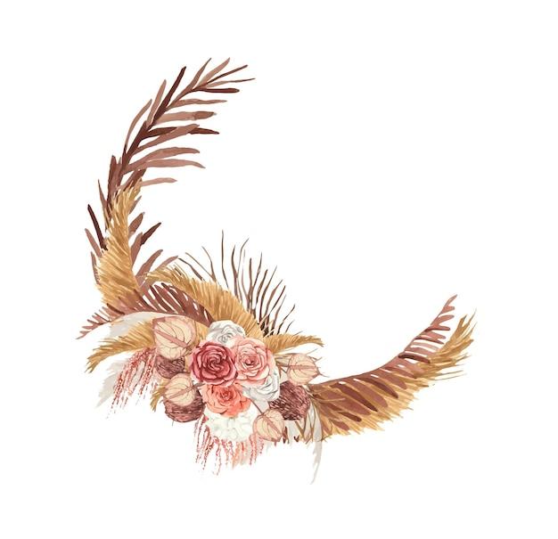 보헤미안 꽃과 잎이 있는 수채화 화환
