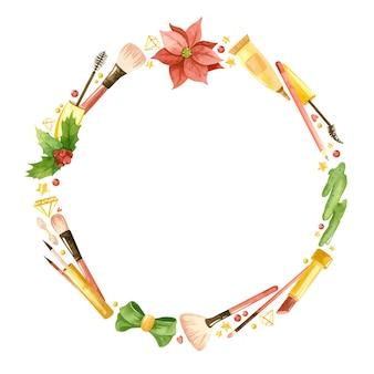 Corona ad acquerello con prodotti cosmetici fiori di stella di natale e foglie di agrifoglio trucco natalizio