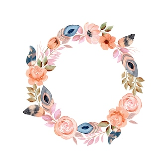 Watercolor wreath with flower and feather