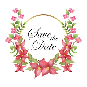 ゴールドリングと水彩の花輪、日付を保存