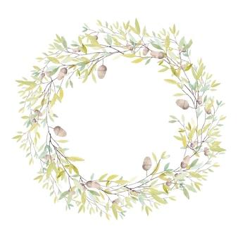 오크 도토리와 잎이 있는 수채화 화환. 흰색 배경에 고립. 벡터 일러스트 레이 션.
