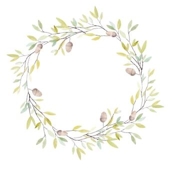 참나무 도토리와 잎 수채화 화환. 흰색 배경에 고립.