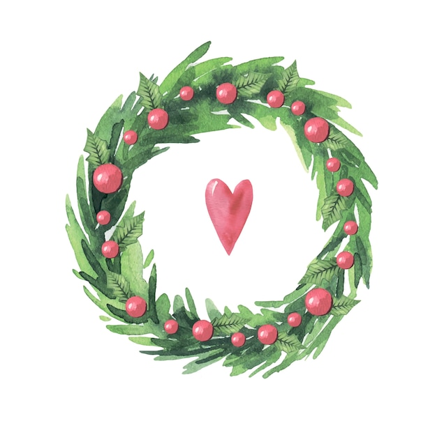 Watercolor wreath with red berries and green leaves
