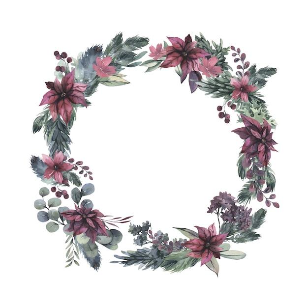 赤い花と緑の葉の水彩画の花輪。