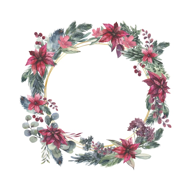 Watercolor  wreath with red flowers and green leaves.