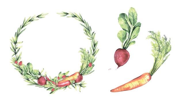 野菜と水彩の花輪