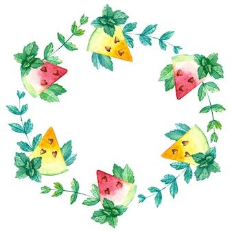 スイカと水彩の花輪