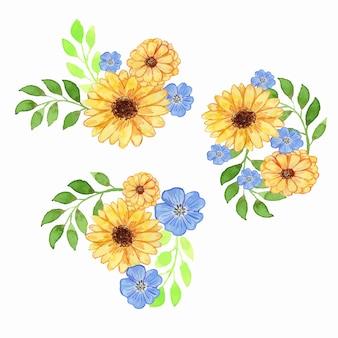 수채화 노란색과 파란색 꽃 꽃꽂이 세트