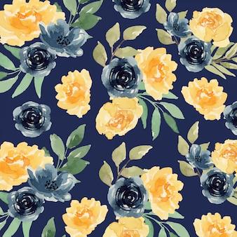水彩の黄色とインディゴの緩い花のシームレスパターン