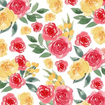 水彩の黄色と赤の緩い花のシームレスパターン