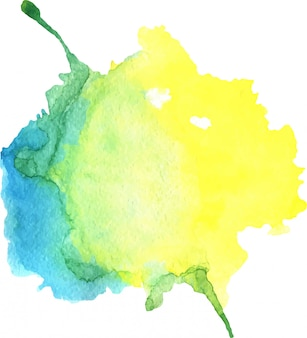 Watercolor yellow and blue stain with blots, paper texture, isolated
