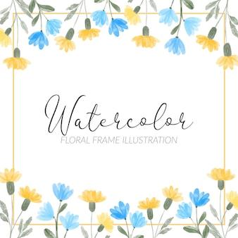 Акварель желтый синий полевой цветок цветочная квадратная рамка иллюстрация