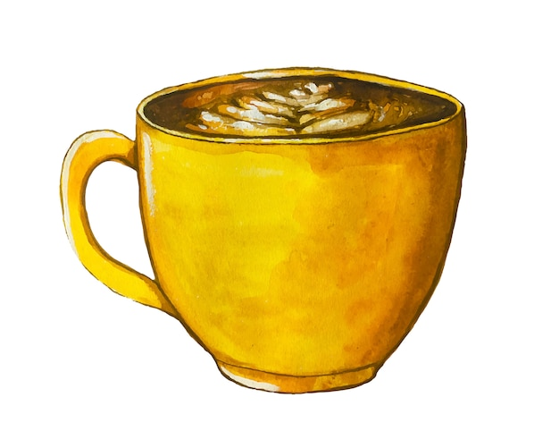 Watercolor yellow  coffee cup with cappuccino.