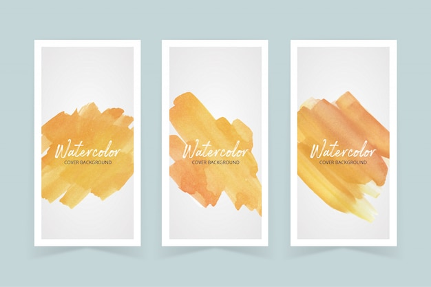 Watercolor yellow  color paint stoke cover set