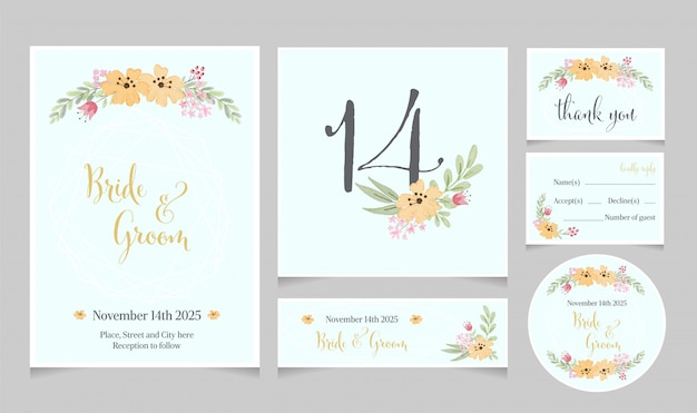 Watercolor yellow cosmos flower wedding invitation card template collection