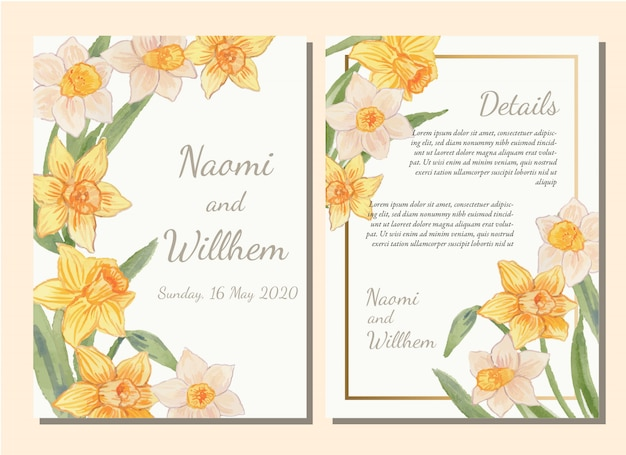 Watercolor yellow daffodil flowers vintage invitation card template set