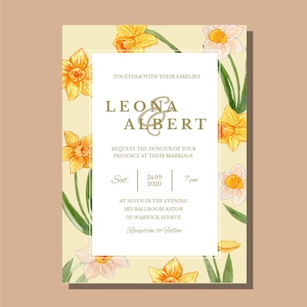 Watercolor yellow daffodil single wedding invitation card template