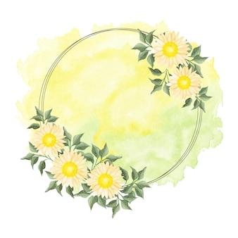 황금 동그라미와 수채화 노란색 꽃 화 환