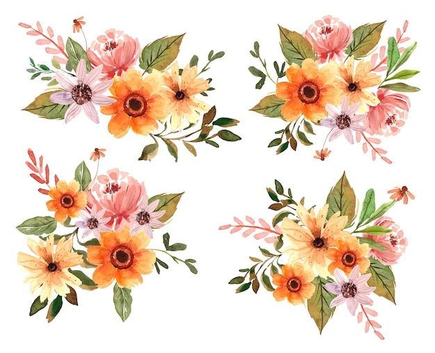Watercolor yellow florals and peonies