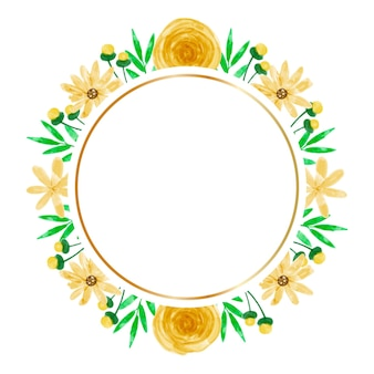 Watercolor yellow flower frame background