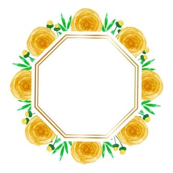 Акварель желтая цветочная рамка фон