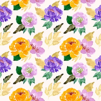 Watercolor yellow flower seamless pattern