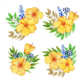 Watercolor yellow hibiscus and blue lavender  illustration set