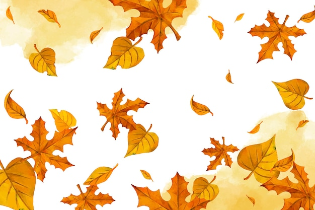 Watercolor yellow leaves falling