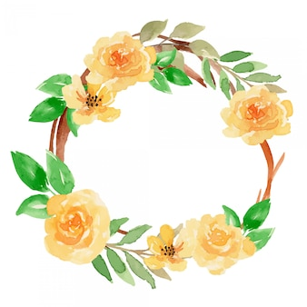 Watercolor yellow loose floral wreath arrangement illustration