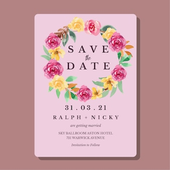 Watercolor yellow and magenta loose floral wedding invitation card template