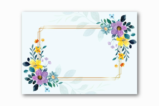 Watercolor yellow purple floral frame