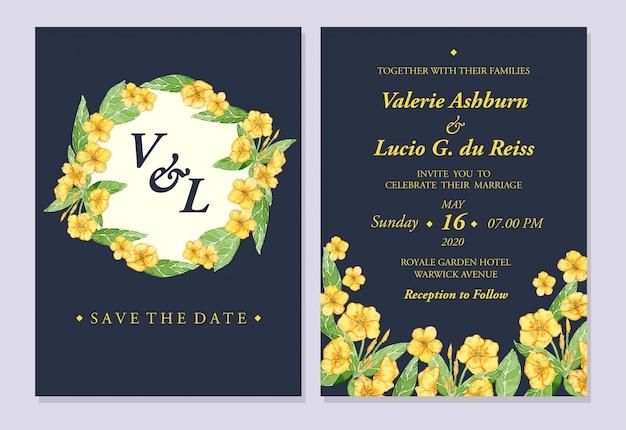 Watercolor yellow rannunculus illustration wedding invitation template