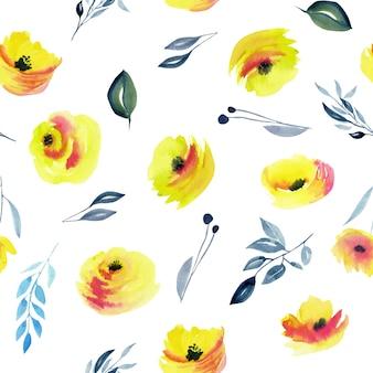 水彩の黄色いバラと青い枝のシームレスパターン