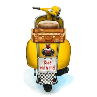 Watercolor yellow scooter with vintage luggage