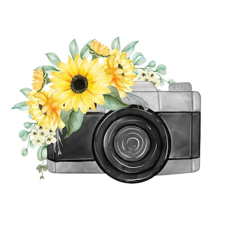 Watercolor yellow sunflower bouquet with camera