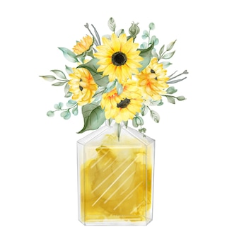 Watercolor yellow sunflower bouquet with perfume