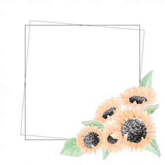 Watercolor yellow  sunflower bouquet wreath frame on paper