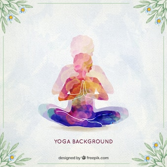 Watercolor yoga background