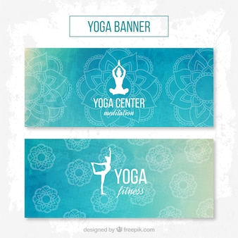 Watercolor yoga center banners in blue color