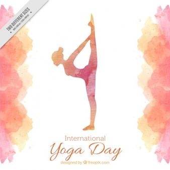 Watercolor yoga day background