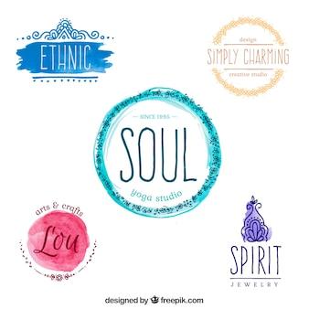Watercolor yoga logos set