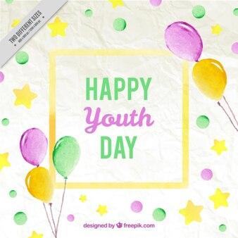 Watercolor youth day background with balloons and circles