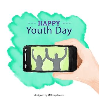 Acquerello giovani sfondo giornata con un cellulare