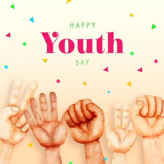 Watercolor youth day concept